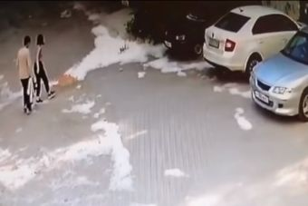 Парочка в Екатеринбурге подожгла пух и спалила машину (ВИДЕО)