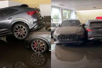 ВИДЕО: десятки новых автомобилей пострадали в дилерском центре из-за наводнения в Германии